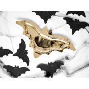 Denevér Formájú Fényes Arany Parti Tányér Halloween-re - 38 cm, 6 db-os