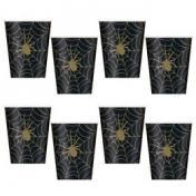 Fekete Arany Pókháló Mintás Parti Pohár Halloween-re - 270 ml, 8 db-os