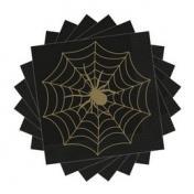 Fekete Arany Pókháló Mintás Parti Szalvéta Halloween-ra - 33 cm x 33 cm, 16 db-os