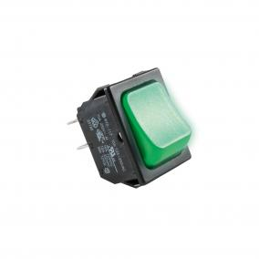 Világítós billenőkapcsoló, 250V, 2ák, zöld [min: 5db]