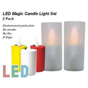 LED/CAL-01, 2 db-os szett, mágikus LED gyertya készlet, (szín: fehér gyertya, sárga villogó LED)