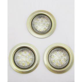 LED-06D-3X1,0W, 3db 1,0W LED 12V, beépíthető (3 db-os LED szett), LED: fehér, antik bronz