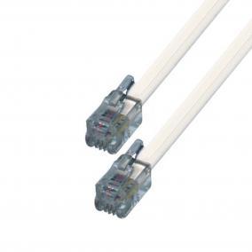 Telefoncsatlakozó kábel, 6P4C, dugó-dugó, 10m [min: 3db]