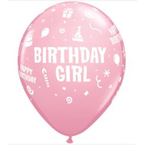 11 inch-es Birthday Girl Pink Szülinapi Lufi (6 db/csomag)