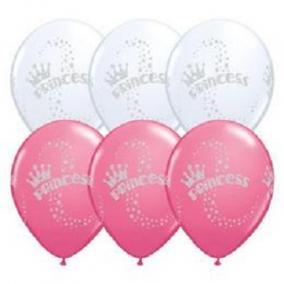 11 inch-es Glitter Princess - Hercegnős White és Rose Lufi (6 db/csomag)