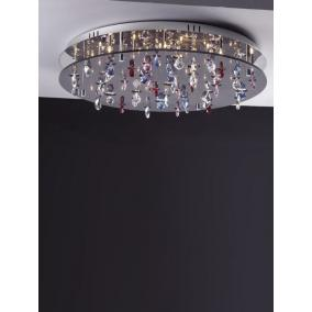 CASINO, MX2226/R-26, 26X10W G4 12V halogén, króm/fekete akril/színes kristály, kristály lámpa