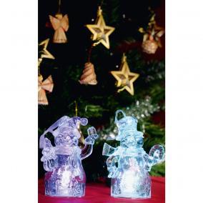 LED-es dekoráció, Mikulás+hóember, 4,5V színváltó