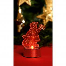 LED-es mécses dekoráció, Mikulás, piros