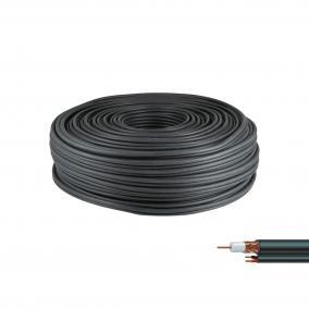Koax kábel tápkábellel 75 ohm, 100m [1m] fekete