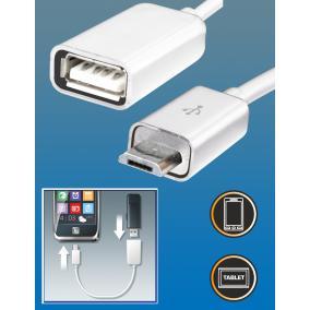 OTG kábel, USB-A aljzat / micro USB-B, 0,16 m