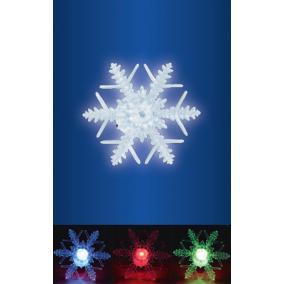 LED-es ablakdísz, hókristály, beltéri kivitel, öntapadós, színváltó LED, mérete: 10 cm