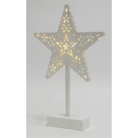 LED-es asztali dísz, csillag, 4,5V, 39cm