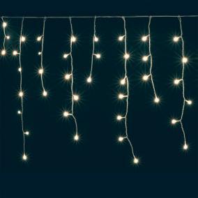 LED-es jégcsap fényfüggöny, 4,7m, 8 prg kültéri melegfehér