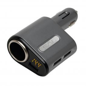 Autós USB gyorstöltő, 12-24V, max 5A