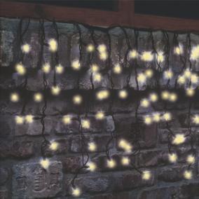 LED-es sorolható, villogó jégcsap fényfüzér, 50db LED, melegfehér