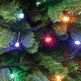 LED-es sorolható, villogó fényfüzér, 100db LED, színes
