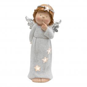 LED-es kerámia figura, angyal, 50cm