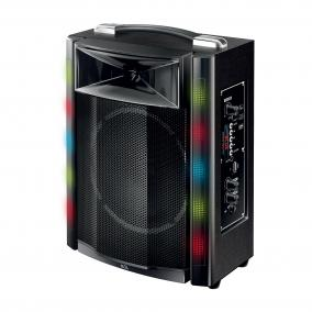 Hordozható party hangdoboz, beépített akkumulátorral és LED fénnyel, MP3/SD/BT/FM/EQ 30W