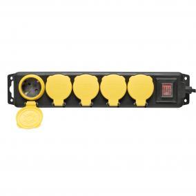 Hálózati elosztó, kapcsolós, 5 aljzat, 5 m, IP44, fekete