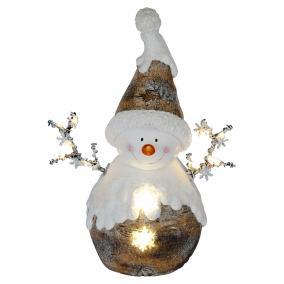 LED-es kerámia figura, hóember LED-es, 56cm