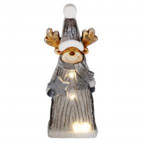 LED-es kerámia figura, rénszarvas LED-es, 48cm