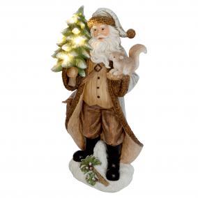 LED-es kerámia karácsonyfával figura
