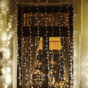 LED-es fényfüggöny, kültéri, 2m, melegfehér