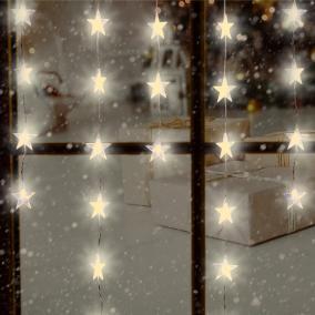 LED fényfüggöny csillag dekorációval, 1,35m