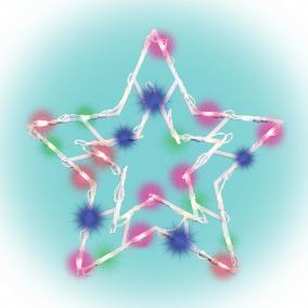 Csillag ablakdísz 35LED, 33x33cm, időzítés, színes