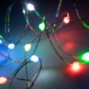 Micro-LED-es fényfüzér távirányítóval, 10m, színes