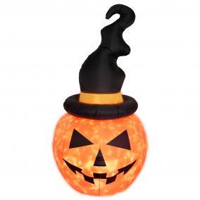 Felfújható Halloween tök, kalappal, 183cm