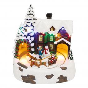 Dioráma, havas ház, 20x18x20 cm