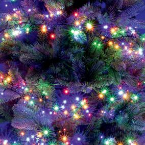 LED-es cluster fényfüzér, kültéri, 7,5m, színes