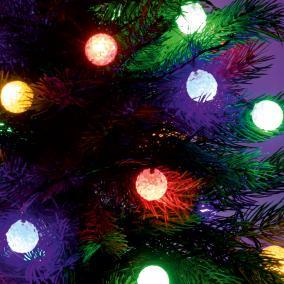 LED-es EVA-gömb fényfüzér, 6m, színes