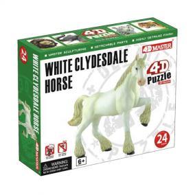 4D puzzle 24 db - Fehér Clydesdale Ló