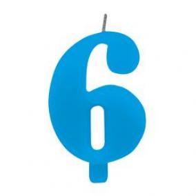 6-os Csillagszórós Kék Számgyertya Tartóval