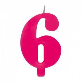 6-os Csillagszórós Rózsaszín Számgyertya Tartóval