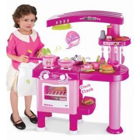 Nagy játékkonyha tartozékokkal, rózsaszín / piros