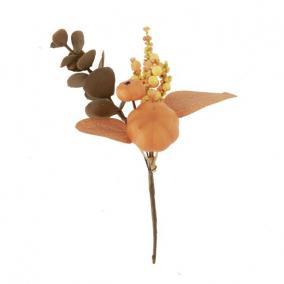 Ág tökkel, bogyókkal hungarocell 18 cm narancs