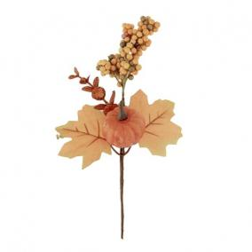 Ág tökkel, bogyókkal hungarocell 25 cm sárga