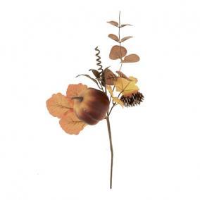 Ág tökkel, tobozzal hungarocell 40 cm narancs