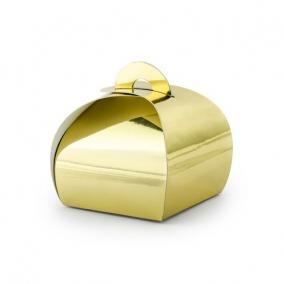 Ajándékdoboz papír 6x6x5,5 cm arany [10 db]