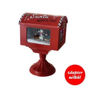 Amerikai postaláda világító,havazó,zenélő elektromos/elemes műanyag 27 cm x 20 cm x 40 cm piros