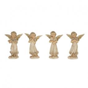Angyal álló poly 8,9 cm x 5,8 cm x 13,2 cm bézs,arany 4 féle