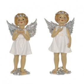 Angyal csillaggal álló poly 7,5 cm x 6 cm x 14 cm fehér 2 féle