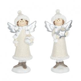 Angyal ajándékkal, csillaggal poly 4,8 cm x 2,6 cm x 10 cm fehér,szürke [2 db]