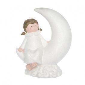 Angyal holdon ülő LED-es kerámia 35 cm x 21 cm x 43cm fehér