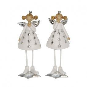 Angyal koronával szoknyában álló poly 4,5 cm x 4,5 cm x 13 cm fehér,ezüst 2 féle