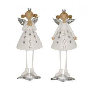 Angyal koronával szoknyában álló poly 6,5 cm x 6 cm x 18 cm fehér 2 féle