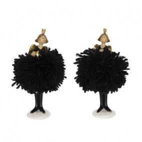 Angyal pompom szoknyában koronával álló poly 7 cm x 7 cm x 14 cm fekete 2 féle